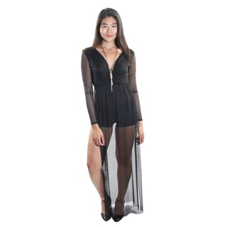 Hadari Women's Sheer Long Sleeve V-Neck Romper with Sheer Leg Slits