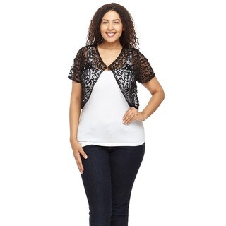 Hadari Women's Plus Size Short Sleeve Laced Cropped Cardigan
