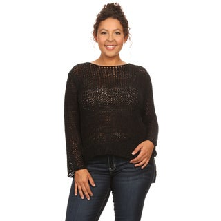 Hadari Women's Plus Size Long Sleeve Round Neck Sweater