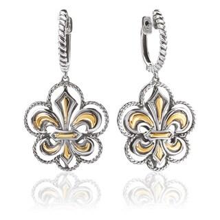 Avanti Sterling Silver and 18K Yellow Gold Fleur-De-Lis Dangle Earrings