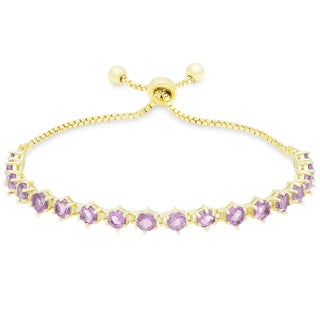 Dolce Giavonna Gold Overlay Gemstone Tennis Style Adjustable Slider Bracelet