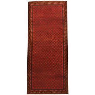 Herat Oriental Afghan Hand-knotted 1960s Semi-antique Tribal Balouchi Wool Runner (3' x 6'9)
