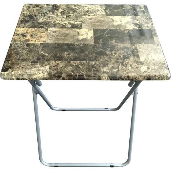 Weeu0026#x27;s Beyond Green MDF/Metal Marbleized Oversized TV Tray Folding Table