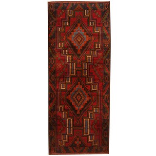 Herat Oriental Afghan Hand-knotted 1960s Semi-antique Tribal Balouchi Wool Rug (2'8 x 6'10)