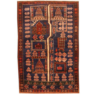 Herat Oriental Afghan Hand-knotted 1960s Semi-antique Tribal Balouchi Wool Rug (3'1 x 4'7)