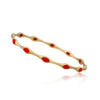 Arctic Mist Satin 14K Gold-plated Brass Bangle Bracelet with Coral Teardrop Stones