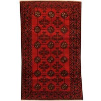 Herat Oriental Afghan Hand-knotted 1960s Semi-antique Tribal Balouchi Wool Rug - 2'9 x 4'6