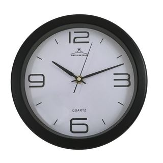 Black Plastic 9-inch Round Wall Clock