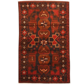 Herat Oriental Afghan Hand-knotted 1960s Semi-antique Tribal Balouchi Wool Rug (2'6 x 4'10)