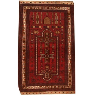 Herat Oriental Afghan Hand-knotted 1960s Semi-antique Tribal Balouchi Wool Rug (2'8 x 4'6)