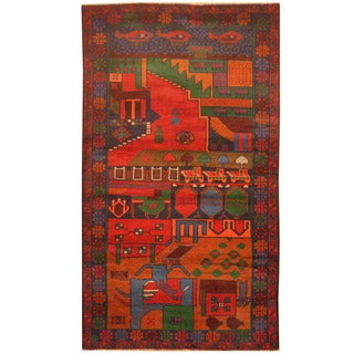Herat Oriental Afghan Hand-knotted 1960s Semi-antique Tribal Balouchi Wool Rug (2'9 x 4'9)