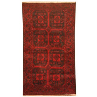 Herat Oriental Afghan Hand-knotted 1960s Semi-antique Tribal Balouchi Wool Rug (2'9 x 5')