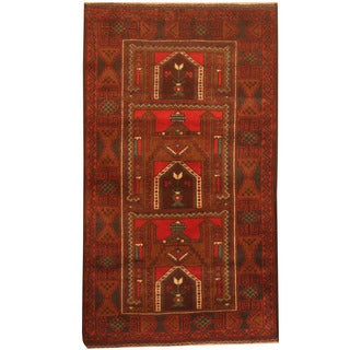 Herat Oriental Afghan Hand-knotted 1960s Semi-antique Tribal Balouchi Wool Rug (2'10 x 4'10)