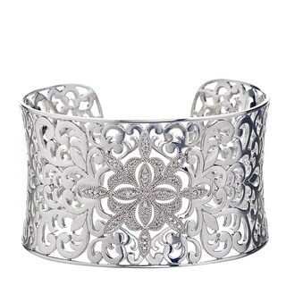 Sterling Silver Diamond Accent Statement Cuff Bracelet By Ever One