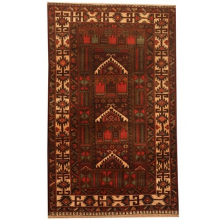 Herat Oriental Afghan Hand-knotted 1960s Semi-antique Tribal Balouchi Wool Rug (2'7 x 4'1)