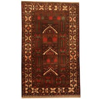 Herat Oriental Afghan Hand-knotted 1960s Semi-antique Tribal Balouchi Wool Rug - 2'7 x 4'1