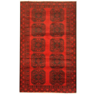 Herat Oriental Afghan Hand-knotted 1960s Semi-antique Tribal Balouchi Wool Rug (2'10 x 4'6)
