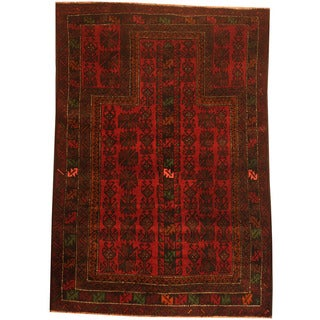 Herat Oriental Afghan Hand-knotted 1960s Semi-antique Tribal Balouchi Wool Rug (3' x 4')