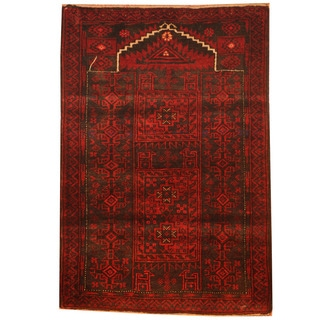 Herat Oriental Afghan Hand-knotted 1960s Semi-antique Tribal Balouchi Wool Rug (2'9 x 4'1)