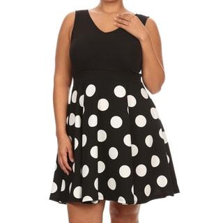 Plus Size Women's Black Pola Dot Polyester/Spandex Fit & Flare Dress