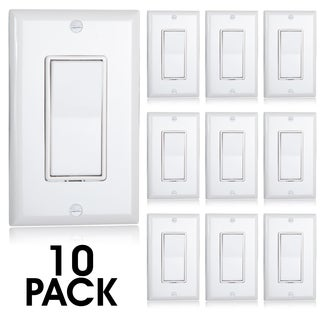 Maxxima White Plastic 3-way Decorative Wall Switches (Pack of 10)