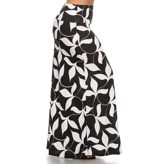 Women's Black/White Rayon/Spandex Plus-size Floral Maxi Skirt