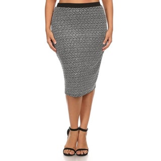Women's Plus Size Grey Polyester and Spandex Fitted-knit Pencil Skirt
