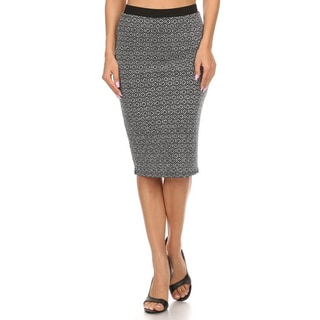 Women's Grey Polyester-blended Fitted Knit Pencil Skirt