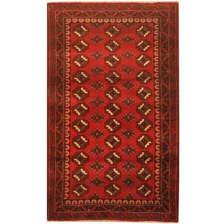 Herat Oriental Afghan Hand-knotted 1960s Semi-antique Tribal Balouchi Wool Rug (2'6 x 4'2)