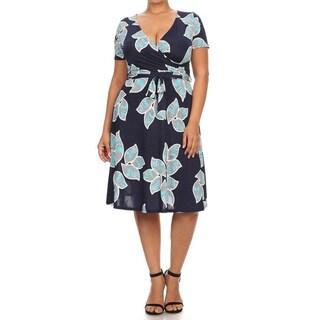 Women's Polyester/Spandex Plus-size Floral Dress