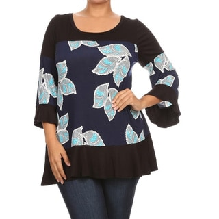 Women's Blue/Pink Rayon/Spandex Plus-size Floral Block Tunic