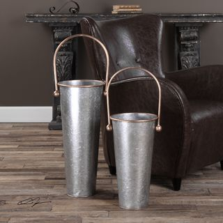 Ortensia Galvanized Flower Buckets (Set of 2)