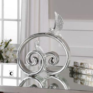 Hummingbirds Bright Silver Sculpture