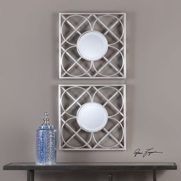 Shop Yasmina Silver Square Mirrors Set Of 2 Free