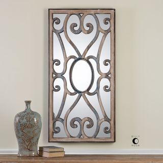 Rosalind Carved Wooden Frame Mirror - Taupe - 23.625x48x2.25