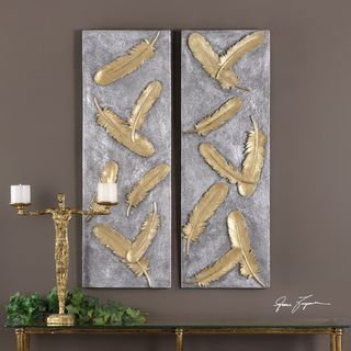 Falling Feathers Gold Wall Art (Set of 2)
