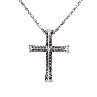 Stephen Webster Rayman Men's Sterling Silver Black Gemstone Cross Pendant Necklace