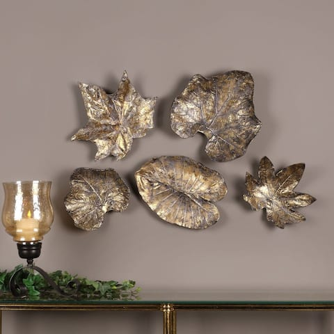 Bronze Leaves Wall Art (Set of 5)