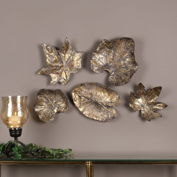 Bronze Leaves Wall Art (Set of 5)