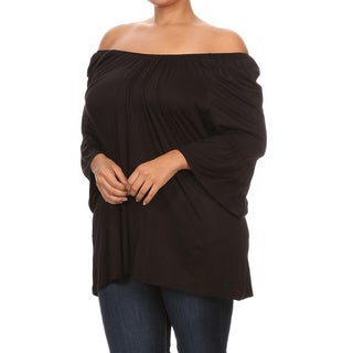 Women's Rayon/Spandex Plus-size Solid Top