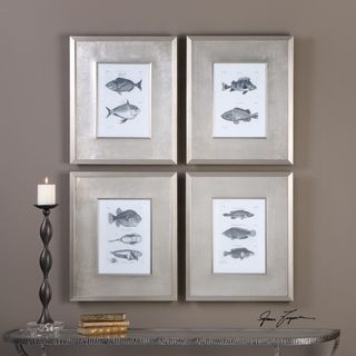 Blue Fish Framed Prints (Set of 4)