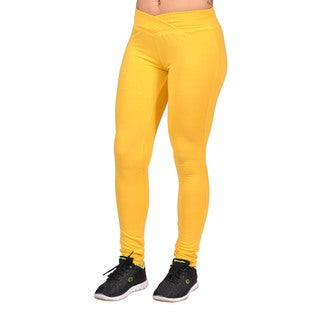 Women's Polyester Spandex Yellow Leggings