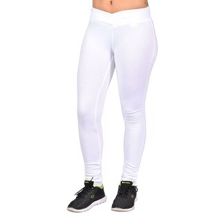 Fashion Women's White Polyester Curved-front Elastic Waist Legging