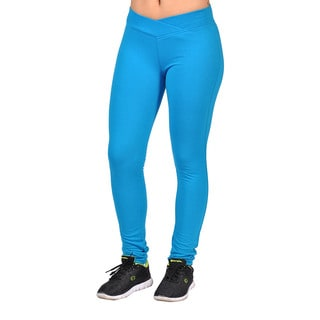 Fashion Women's Curved-front Turquoise Elastic Waist Leggings