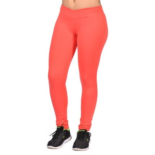 C'est Toi Women's Salmon Cotton-blend Curved Front Elastic Waist Leggings
