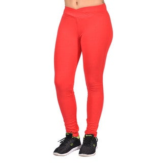 C'est Toi Women's Red Cotton-blend Curved Front Elastic Waist Leggings