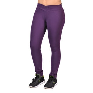 Fashion Women's Purple Curved Front Elastic Waist Leggings
