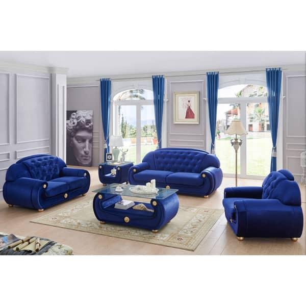 Blue Fabric 3 Piece Living Room Set