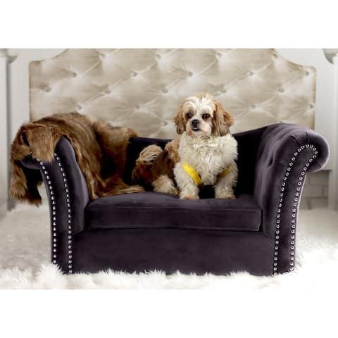 Dachshund Grey Velvet Tutfted Nailhead Trim Pet Couch
