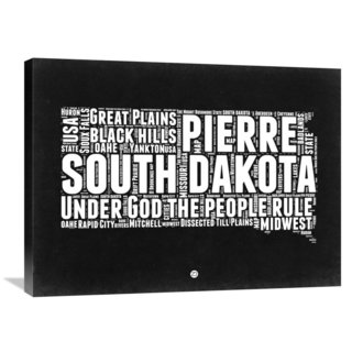 Naxart Studio 'South Dakota Black and White Map' Stretched Canvas Wall Art